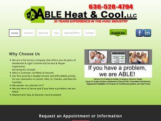 HVAC Company Before Website Redesign