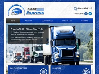 AMS Express Trucking Webiste After Redesign