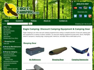 Discount Camping Gear Store Website