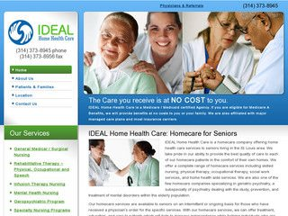 St. Louis Home Health Care Company Website After Website Redesign
