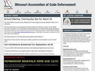 Missouri Building Code Enforcement Website Before Website Redesign