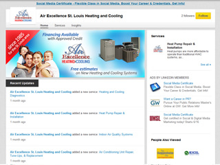 Air Excellence Heating & Cooling LinkedIn Page Design