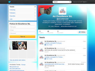 Air Excellence Heating & Cooling Twitter Page Design