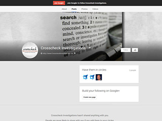 Crosscheck Investigations Google+ Page Design