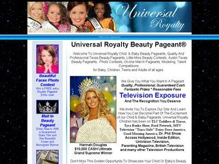 Universal Royalty Beauty Pageant Website Before Website Redesign