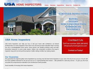 USA Home Inspectors Website Before Website Redesign