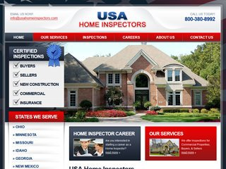 USA Home Inspectors Website After Website Redesign